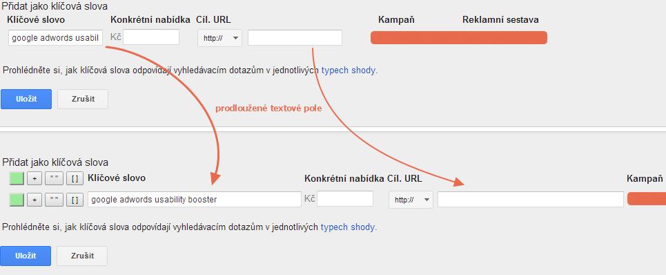 Usability Booster prodloužená textová pole