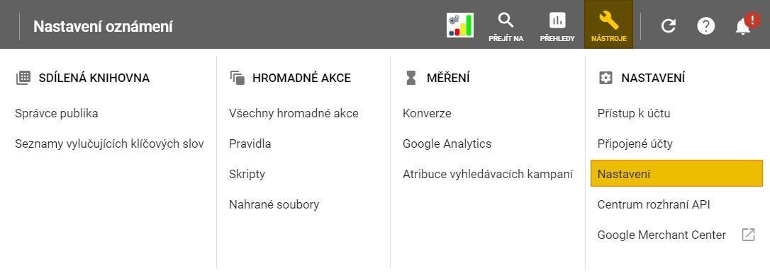 Nastavení notifikací v Google Ads MCC