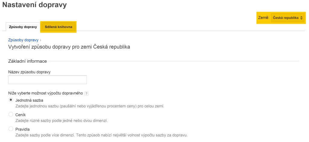 Doprava Google Merchant v administraci