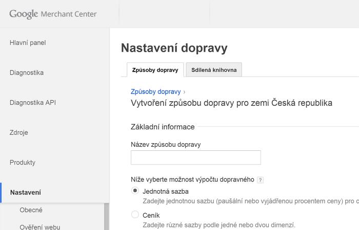 Doprava v Google Merchant Center nově pro ČR