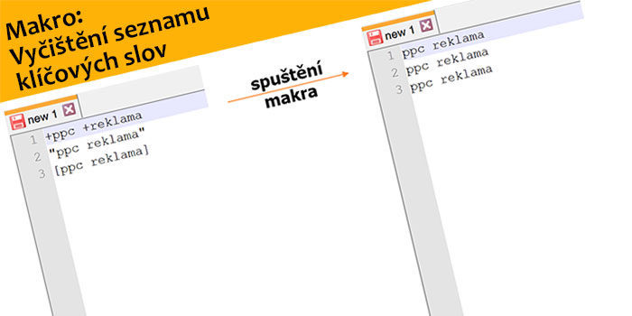 Makro: Vyčištění seznamu klíčových slov