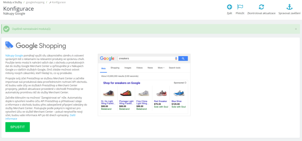 Google Shopping modul