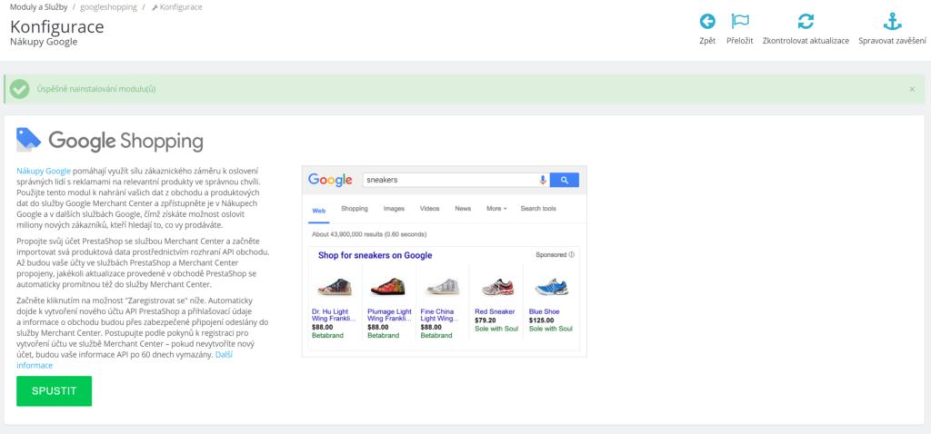 Google Shopping modul