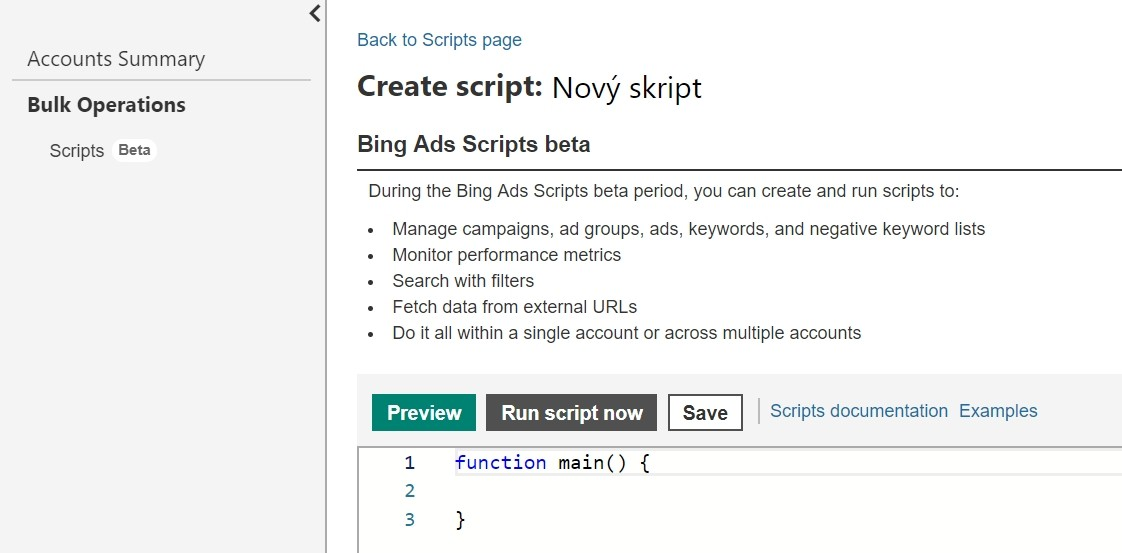 Bing Ads Scripts