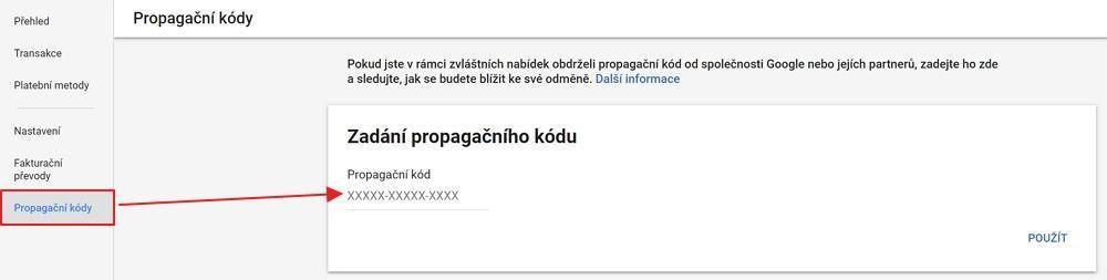 Přidání propagačního kódu v Google Ads