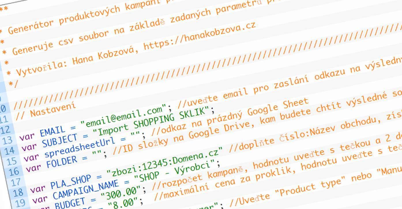 Sklik skript: Importní soubor pro produktové kampaně